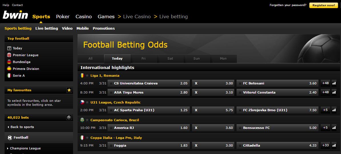 Bwin livescore betting